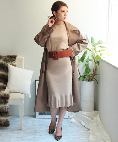 [Julia Boutique] 2点セット・ニットトップス&マーメイドスカートセットアップ/510438