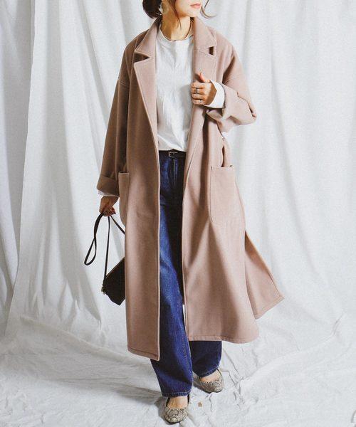 [Fashion Letter] リバーコート / サイドスリットビッグシルエットロングガウンコート