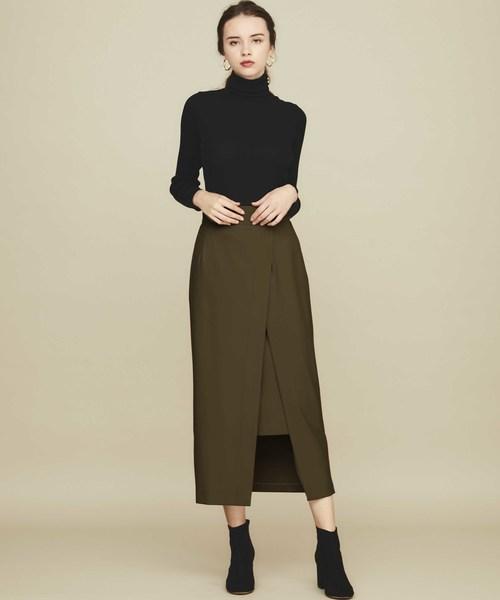 [STUDIOUS WOMENS] 【STUDIOUS】モイストツイルスリットロングスカート