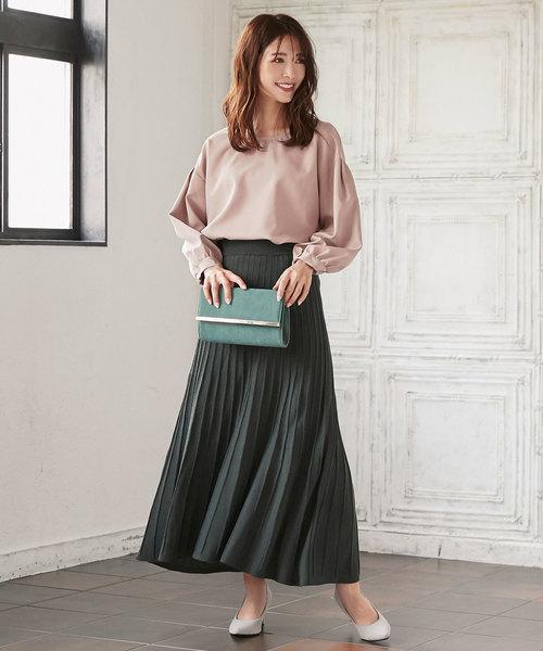 [kobelettuce] [無地/配色バイカラー]ロング丈プリーツニットロングスカート