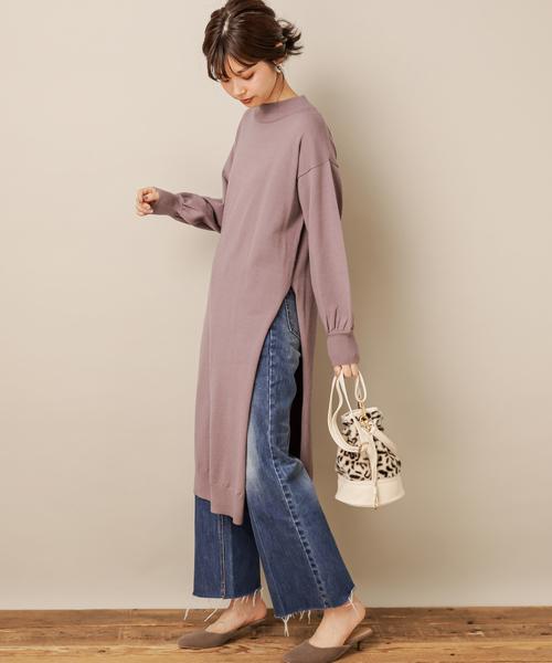 [natural couture] ロングスリットもちもちニットワンピース