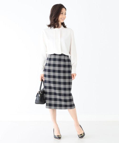 [BEAMS WOMEN] Demi-Luxe BEAMS / チェック セミタイトスカート