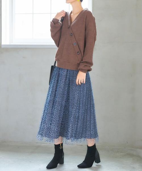 [tocco closet] レオパードチュールプリーツスカート