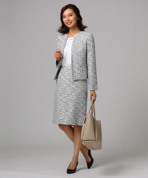 【アイボリー】ツイードジャケット×スカート