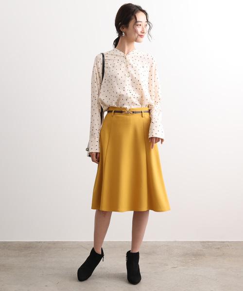 [ViS] 【EASY CARE】ウォッシャブルフラノ合皮ベルト付フレアスカート
