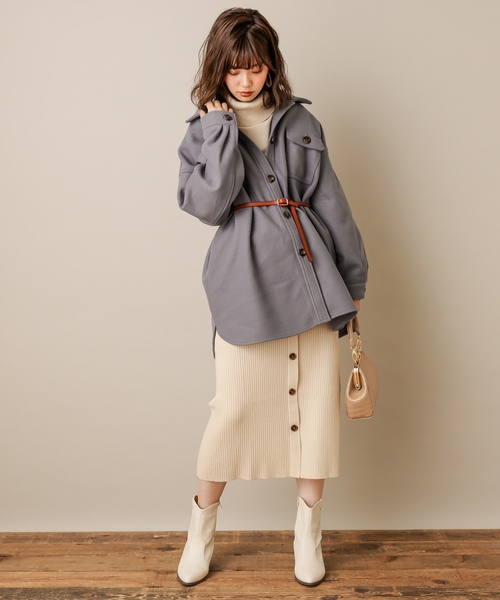 [natural couture] フェイクウールCPOジャケット
