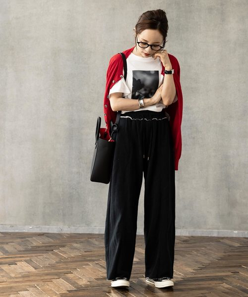 [kobelettuce] 【WEARISTA田中亜希子さん×KOBE LETTUCEコラボ】裏起毛センタープレススウェットワイドパンツ2