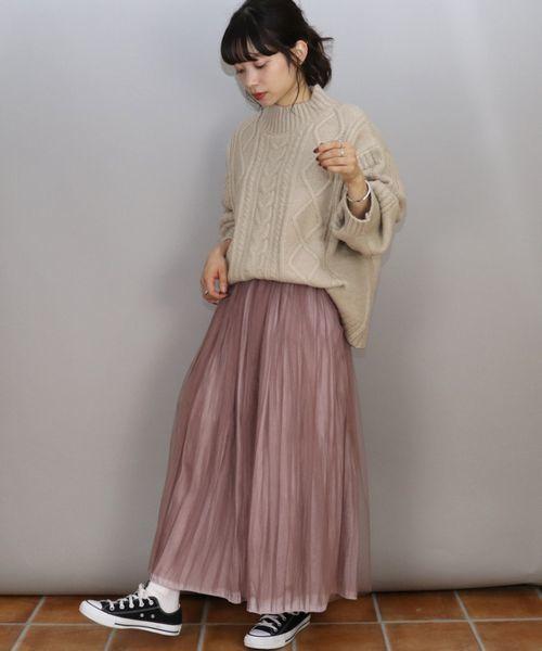 [tiptop+pocket] シャイニーサテン×チュール消しプリーツリバーシブルスカート