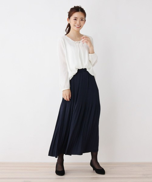 [HusHusH] ヴィンテージ風サテンプリーツスカート