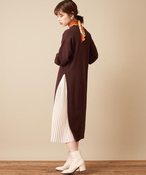 [natural couture] 【WEB限定カラー有り】サイドプリーツニットワンピ