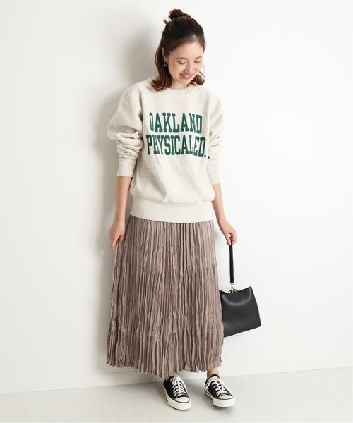 [IENA] ピーチサテンランダムプリーツスカート◆