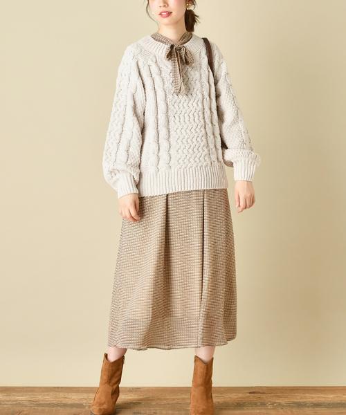 [natural couture] 【WEB限定カラー有り】前後2WAYボータイワンピース