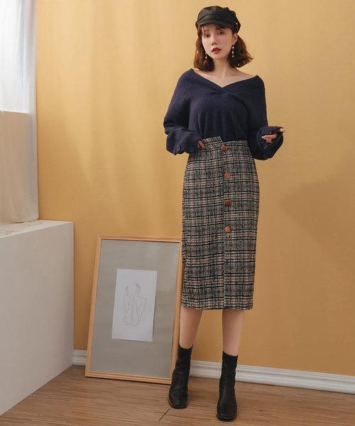 [SAISON DE PAPILLON] チェックニットタイトスカート
