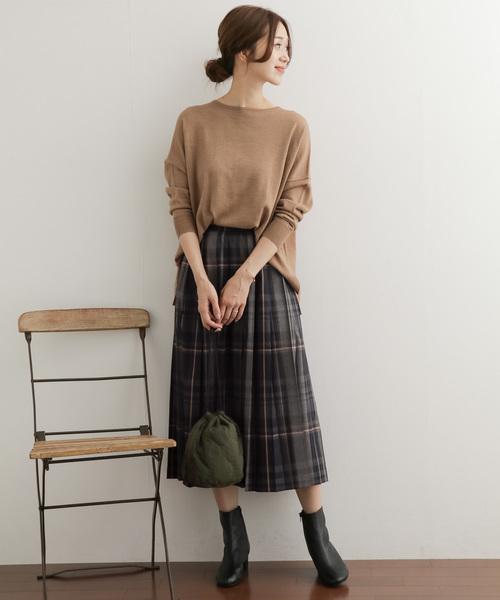 [URBAN RESEARCH DOORS] カラーチェックプリーツスカート
