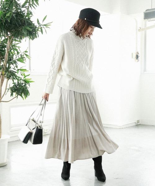 [BAYFLOW] ベロアプリーツスカート