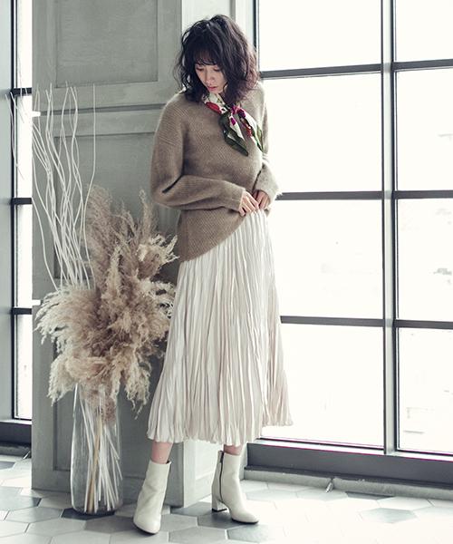 [Droite lautreamont] ストレッチブリスターサテンスカート