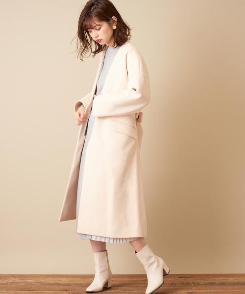 [natural couture] おしゃれ色ノーカラーコート