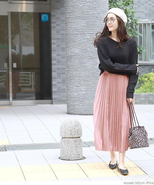 [coca] ミモレ丈スウェードタッチプリーツスカート