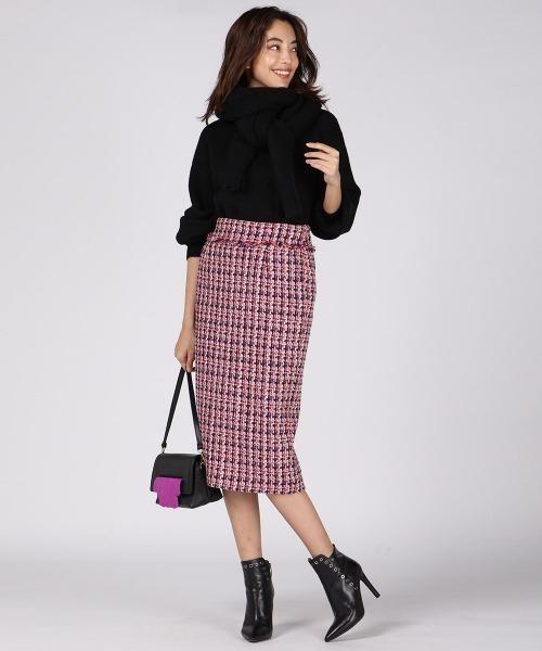 [VICKY] ツイードフリンジタイトスカート
