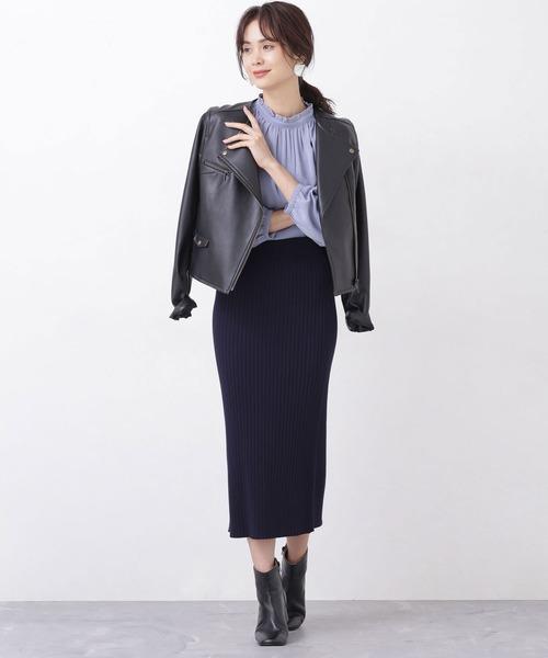 [nano・universe] 【WEB限定】リブニットタイトスカート