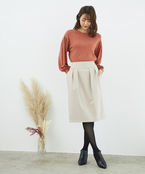 [ROPE' PICNIC] 裏起毛タックアイラインスカート