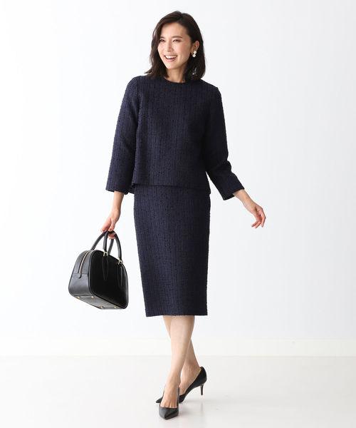[BEAMS WOMEN] Demi-Luxe BEAMS / バックスリット ツイード タイトスカート 20FO