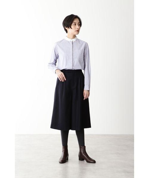 [HUMAN WOMAN] ◆ブロードタイプライターストライプシャツ