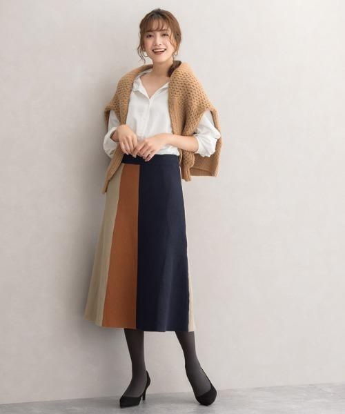 [Pierrot] 配色ニットフレアスカート