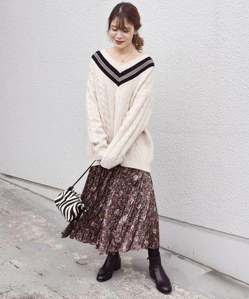 [SHIPS for women] オリエンタルフラワープリントスカート