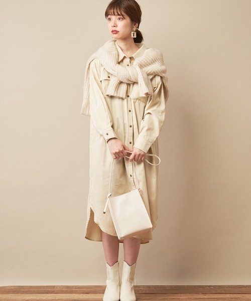 [natural couture] 【WEB限定】細コーデュロイシャツワンピース