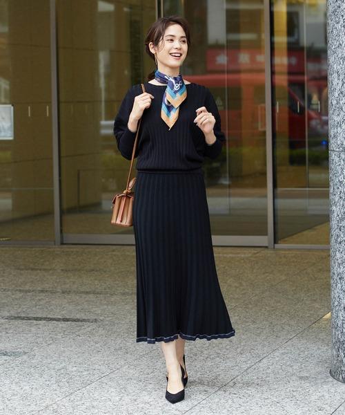 [ROPE'] 【セットアップ対応】ワイドリブマーメイドニットスカート