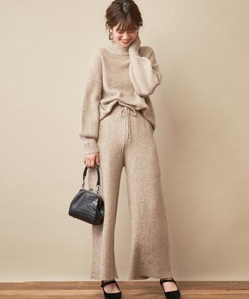 [natural couture] もちもちブークレニットパンツ/セットアップ
