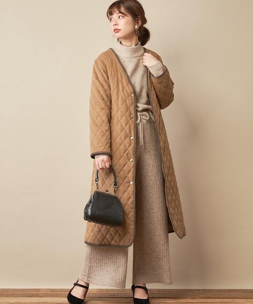 [natural couture] もちもちブークレハイネックニット/セットアップ