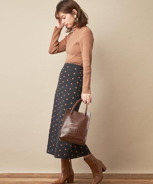 [natural couture] ドットロングスカート