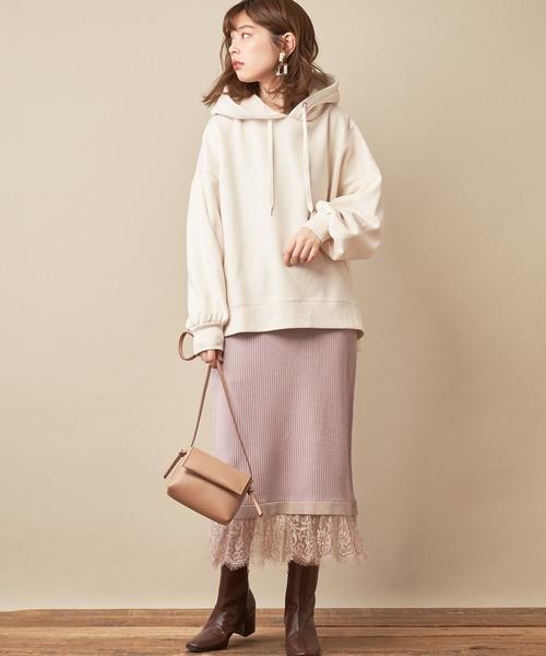[natural couture] 裾レースニットジャガードストライプスカート/セットアップ