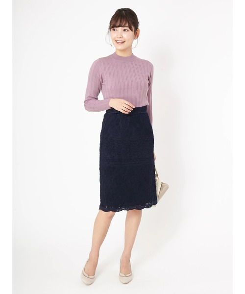 [Ailand] 切替起毛レースタイトスカート