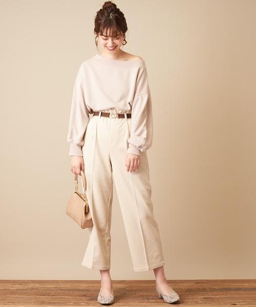 [natural couture] おしゃれゴムベルト付きウール調パンツ