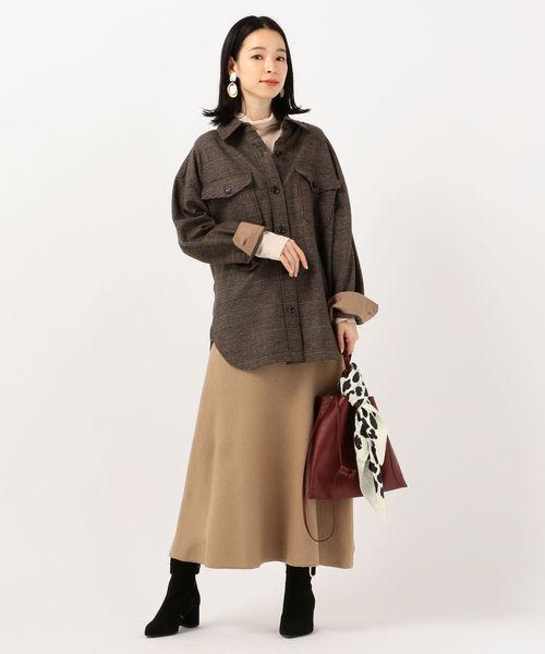 [SHIPS for women] PrimaryNavyLabel:ボイルドウールニットスカート