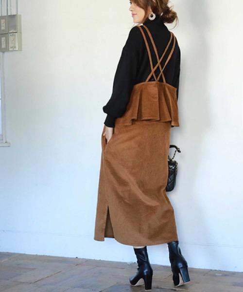 [M y u] バックフリルコーデュロイジャンパースカート