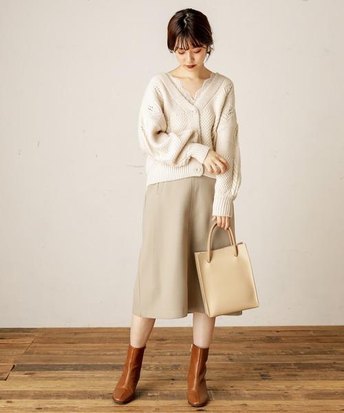 [natural couture] フェイクウールAラインスカート