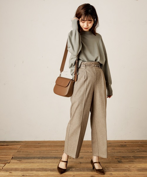 [natural couture] あったかヘリンボーンベルト付きパンツ