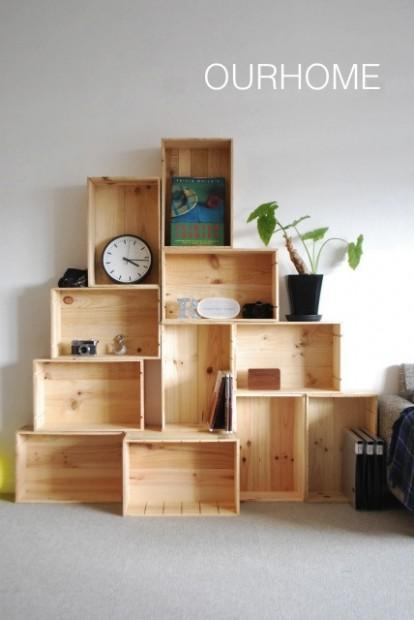 木箱を使ったおしゃれな収納実例2
