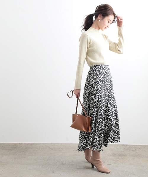 [ViS] フラワーAラインロングスカート