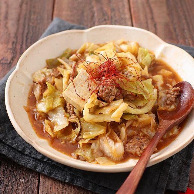 人気のおつまみ料理に!キャベツの麻婆木綿豆腐