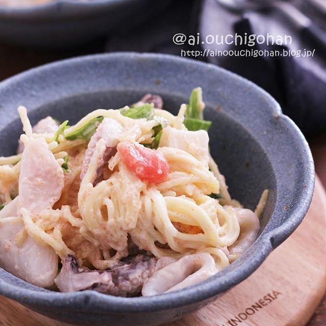 煮魚に明太イカのデリ風付け合わせサラスパ