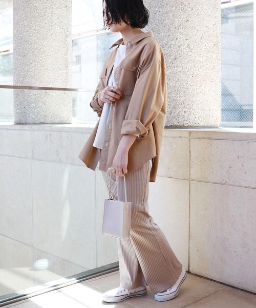 [and Me(アンドミー)] コットンリネン長袖オーバーサイズシャツジャケット
