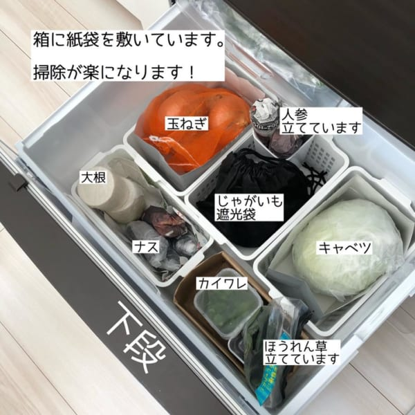 冷蔵庫 野菜室 整理整頓