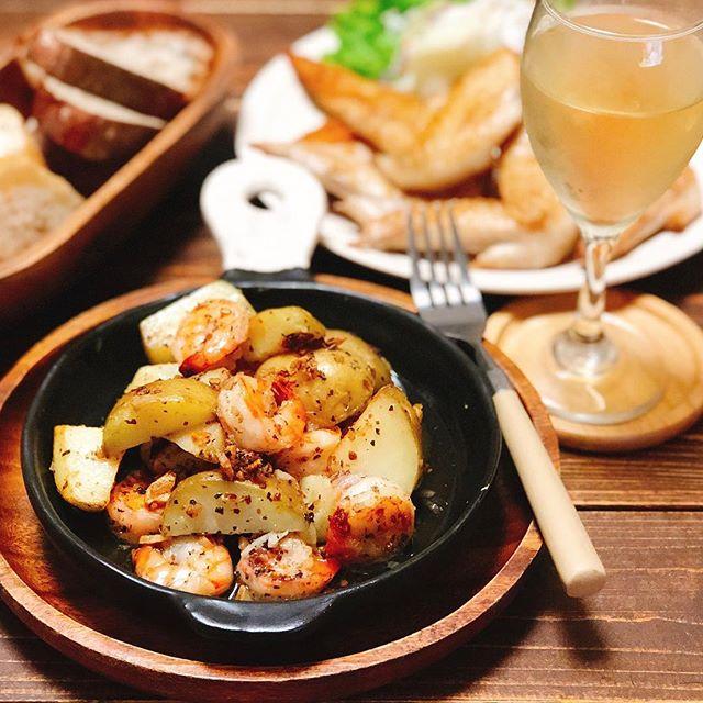 煮魚と一緒に!海老とポテトのアンチョビガーリック