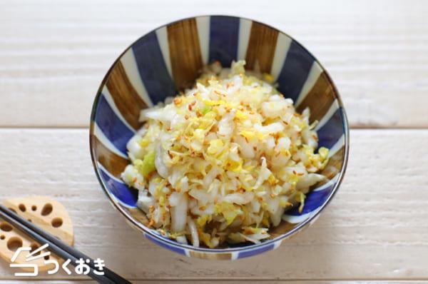 白菜の付け合わせ!クリームシチューとゴマサラダ