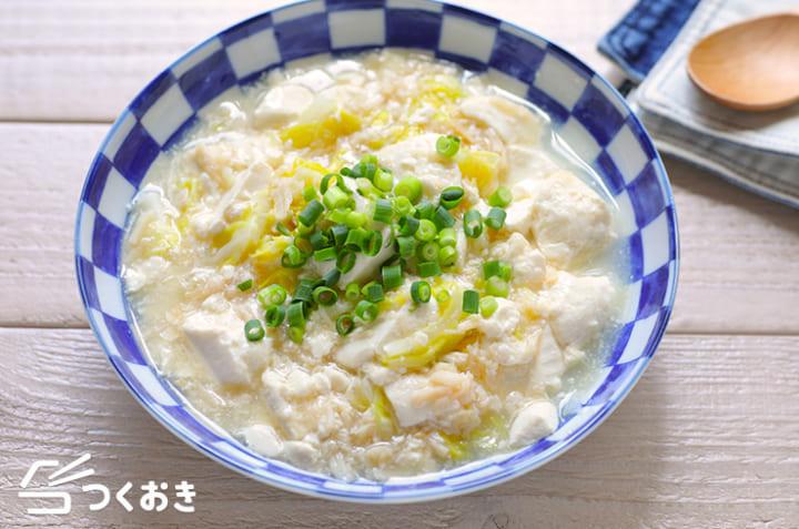 ムニエルに!ホタテと豆腐の付け合わせでサッと煮